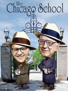 Milton Friedman y Arnold Harberger, de la Escuela de Chicago. Foto por DonkeyHotey
