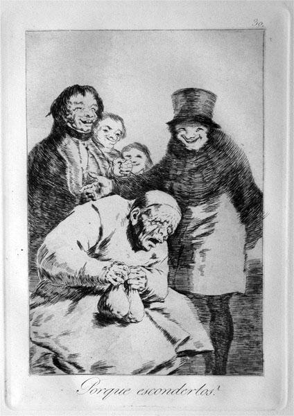 Francisco de Goya y Lucientes, Los Caprichos, ¿Por que esconderlos? 1796-97. Museo del Prado