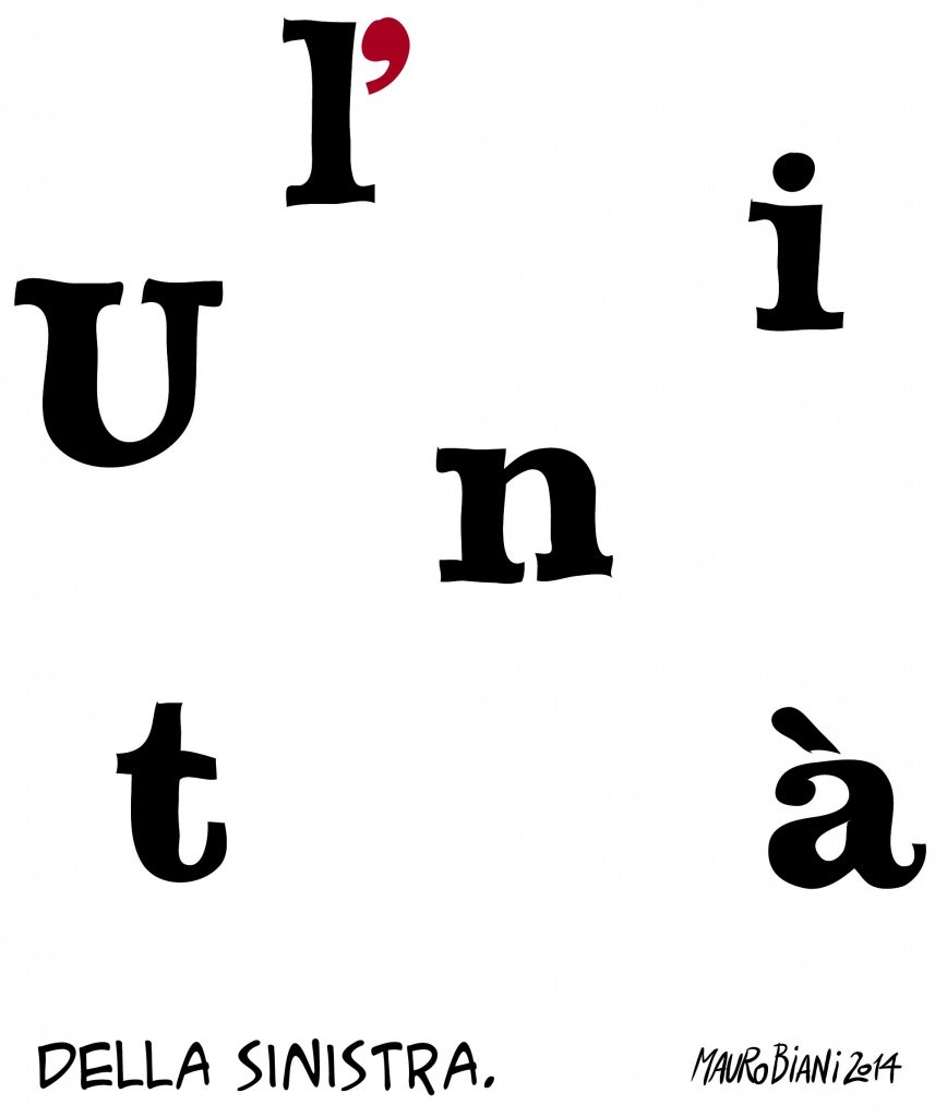 A propósito de la desaparición de L'Unità. Viñeta de Mauro Biani publicada en el diario Il Manifesto del 31 de julio de 2014